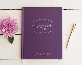 Wedding Guest Book Purple Wedding Guestbook Custom Guest Book Personalized classic custom design wedding gift keepsake reception plum wine