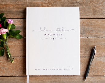Wedding Guest Book Wedding Guestbook Custom Guest Book Personalized Customized custom design wedding gift keepsake rustic black and white