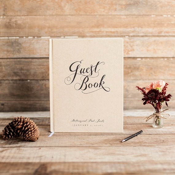 Wedding Guest Book Wedding Guestbook Custom Guest Book Personalized Customized rustic wedding keepsake wedding gift calligraphy rustic book
