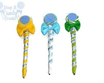Baby Shower Lollipop Pen, Baby Shower Favor, Edible Baby Shower Favor, Unique idea for baby boy shower, its a boy, gender reveal favors