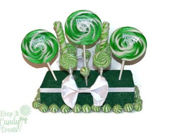 Dark Green Wedding Centerpiece, Green Candy Centerpiece, Green Lollipop Centerpiece, Green Candy Buffet Decoration, Green Candy Table