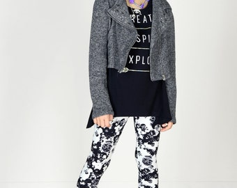 Kids/Girls Grunge 90's Black and White Skull Camo Printed Leggings for Riot Grrrls, Punk and Goth Kids
