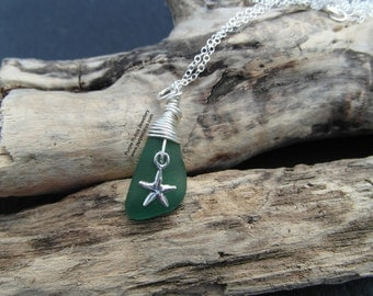 Sea Green Mermaids Tear Necklace with Starfish Charm ~ Sterling Silver ~ Cornwall ~ Sea Glass