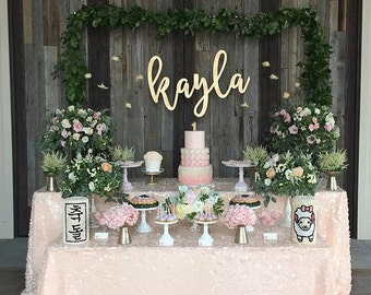 """Large Personalized Laser Cut Name Sign - (ONE) 42"""" x 20"""" Custom Wood Wall Sign - Birthday Decor - Photo Booth Backdrop - Korean Dol Party"""