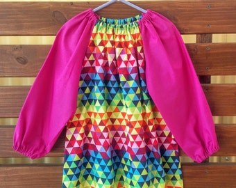 Kids Long Sleeve Art Smock - Size 3-4. Colourful Triangles.