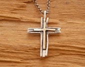 Rustic Gold and Silver Cross Necklace  Mens Twig Cross Necklace, Tree Branch Religious Pendant for Men or Women ST611