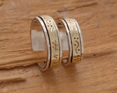 Antiqued Sterling Silver and Gold Wedding Bands, His and Her Promise Ring Set, Custom Wedding Bands, BE21