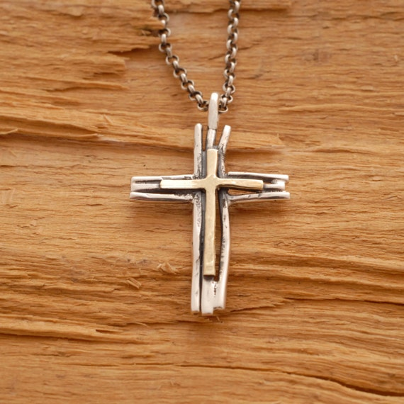 rustic gold and silver cross necklace mens twig cross. Black Bedroom Furniture Sets. Home Design Ideas