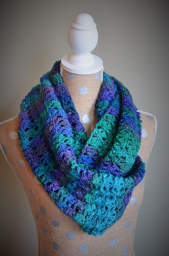 Crochet Infinity Scarf Pattern Shell : Shell Lace Crochet Scarf Infinity Scarf Available
