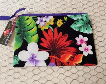 Zipper pouch, Makeup bag, Pencil case, Tropical flowers