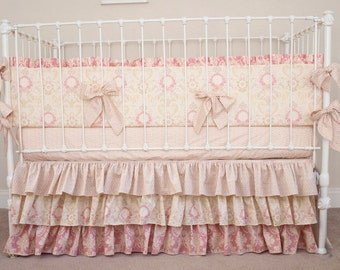 Vintage Rose  Pink Damask, Cream and Ivory Juliet Collection  Baby Girl Crib Cot Bedding
