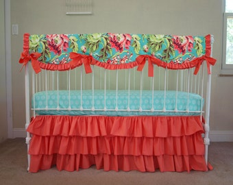 Love Bliss Bouquet Teal, Coral, and Mint Bumperless Baby Girl Crib Bedding with Crib Rail Guard / Rail Cover