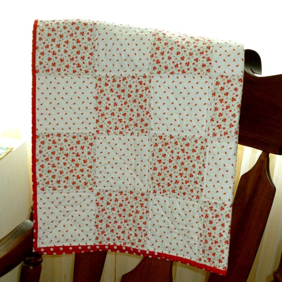 Hand Quilting Patterns For Baby Quilts : Hand Quilted Baby blanket crib quilt red by SheilaKayTreasures