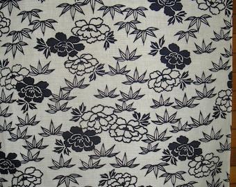 "FABRIC Vintage Japanese Cotton Indigo Yukata Fabric from Unused Bolt, Navy Blue & White Bamboo Peonies, Indigo - 13 1/2"" W X 36"" L Per piece"