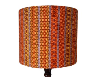 Tropical Striped Lampshade, Birthday Gift, Christmas Gift Idea, 25cm Drum Lamp shade, Orange Yellow Brown African Wax print, Detola And Geek