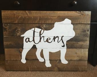 Georgia Bulldogs - Athens Wood Sign
