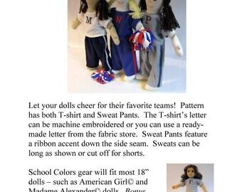 School Sweats Pattern for 18 Inch Dolls - Printed Pattern