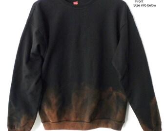 Black Sweatshirt, Black crewneck sweatshirt, Dip dye, acid wash sweatshirt, sweater, crew neck, sweatshirt, Boho, Grunge, Back to School