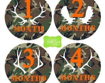 Camouflage Baby Monthly Stickers - Baby Bodysuit Stickers - Hunting Monthly Baby Stickers - Camo Milestone - Boy Monthly Stickers - 028