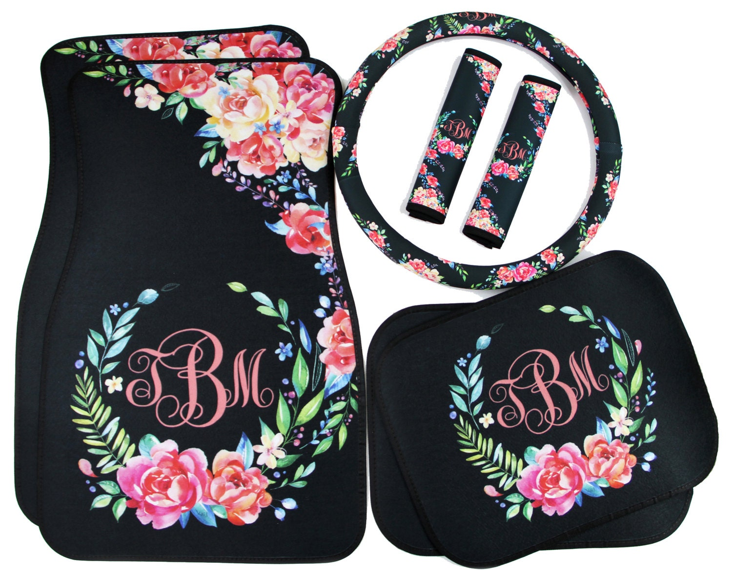 classy black floral car accessories car mats floor mats. Black Bedroom Furniture Sets. Home Design Ideas