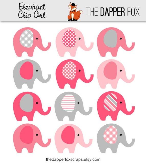 Pink Grey Elephant Clip Art INSTANT DOWNLOAD Baby girl