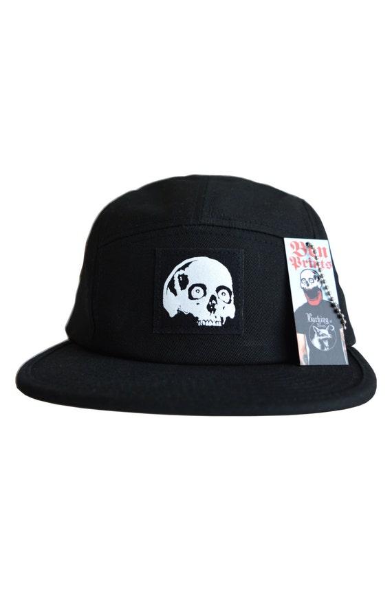 skull five panel hat mens black skull baseball cap by