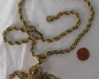 "Retro  MONET Signed Gold Toned Thick Braided 22"" Necklace with Filigree Fringe 4"" Pendant"