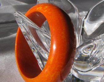 BIG Vintage Bangle Bracelet, Tangerine Orange with Marbled Yellow, Unknown Plastic