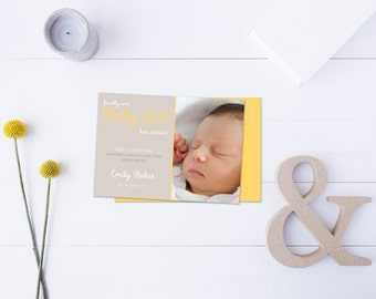 Baby Girl Arrival Post Card // Insert your own Baby Picture // Yellow and Neutral Tones // DIY Printable File // Digital PDF File