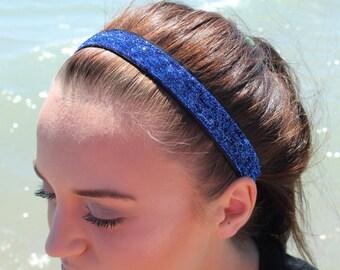 Blue Glitter Headband Adult - Blue Headband - Womens Headbands for Women - Sports Headbands Women