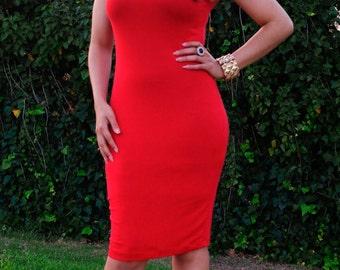 Sleeveless Dress - Knee Length Dress - Plus Size Clothing - Womens Dresses - Fitted Dress - Crew Neck - Petite Pencil Dress - Tall Dresses