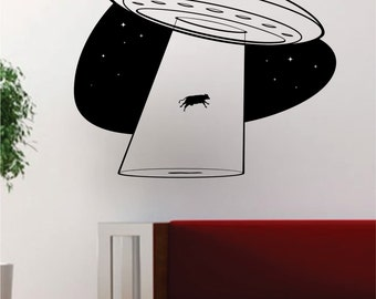 UFO Cow Abduction Alien Outer Space Decal Sticker Wall Vinyl Cool Design Art
