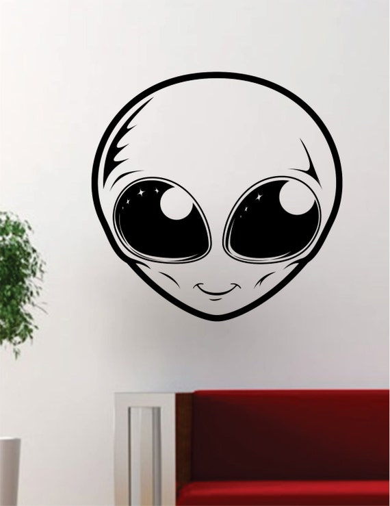 Alien face ufo outer space decal sticker wall vinyl cool for Outer space vinyl wall decals