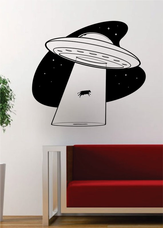 Ufo cow abduction alien outer space decal sticker wall vinyl for Outer space vinyl wall decals