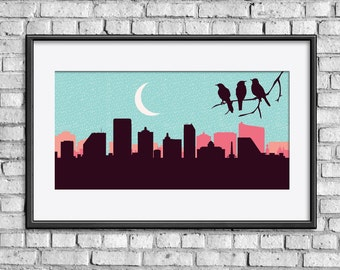 Atlantic City skyline, Atlantic City poster, Atlantic City art, Atlantic City print, Birds print, Birds art, Birds poster, Birds nursery art