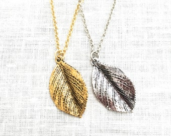 Leaf Necklace, Gold or Silver Charm Necklaces for Women, Nature Jewelry, Boho Necklace, Layering Necklace, A0076