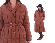 70s Eddie Bauer Down Puffer Coat Amazing 1970s Vintage Winter Outerwear Warm Ski Coat Belted Womens Clothing Size Large