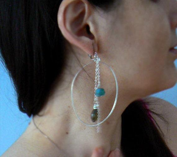 Labradorite hoops earrings- Sterling silver hoop dangling long earrings- Boho apatite earrings- Raw apatite stone earrings-Jewelry gift
