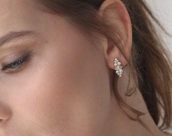 Bridal earrings, Wedding earrings, bridal stud earrings, bridal Cluster Earrings,  bride earrings, vintage earrings,