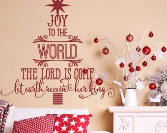 Christmas Wall Decal - Christmas Decor - Red - Wall Decal - Christmas Decorations - Christmas Tree - Christmas Vinyl Decal