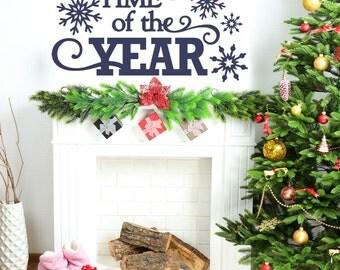 Christmas Decor - Christmas Wall Decal - Blue - Christmas Decorations - Wall Decal - Wall Decals - Christmas Wall Decals - Holiday Decor