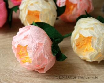 Wedding Flower Decorations, 8 Paper Peonies, Wedding Table Decor, Peony Centerpiece, Peony Arrangement Bridal Shower Decor Paper Anniversary