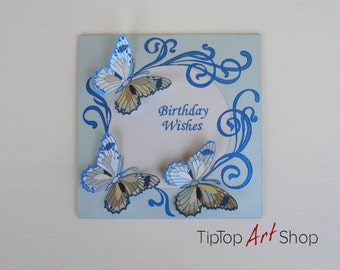 Butterfly Birthday Card -OOAK paper handmade greeting card in blue and white; Birthday Wishes
