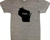 RUN Wisconsin State Tee - American Apparel Track Tee - Unisex Sizes xs-2xl & Women's Sizes s-xl