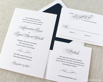 Classic Script Wedding Invitations, Navy Wedding Invitation, Formal Wedding Invitation, Black Tie Invitations, Classic Script Invitations