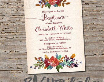 Fall Floral, Baptism invitation, Printable, DIY, christening