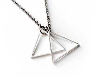 Geometric Necklace - Silver Triangle Double Pendant Necklace - Men's Jewelry - Simple Necklace - Triangle Necklace by Modern Out