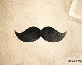 Classic Mustache Rubber Stamp - 2 x 2 inches