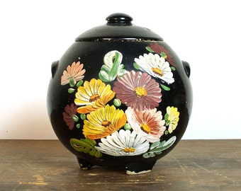 Ransburg Cookie Jar / Vintage 1940s Painted Crockery Canister with Lid