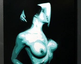 Stencil spray paint art